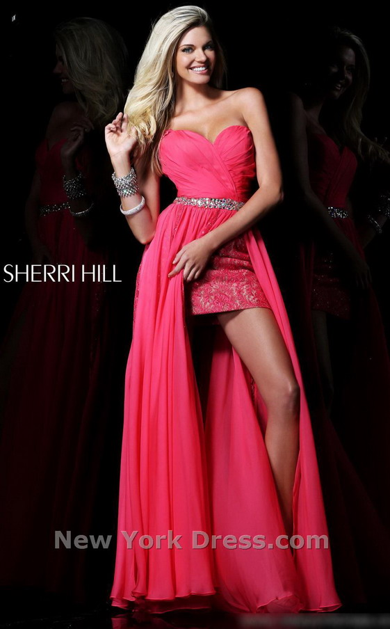 Hot Pink Beaded Waist Strapless Sherri Hill 1544 Slit Prom Dress